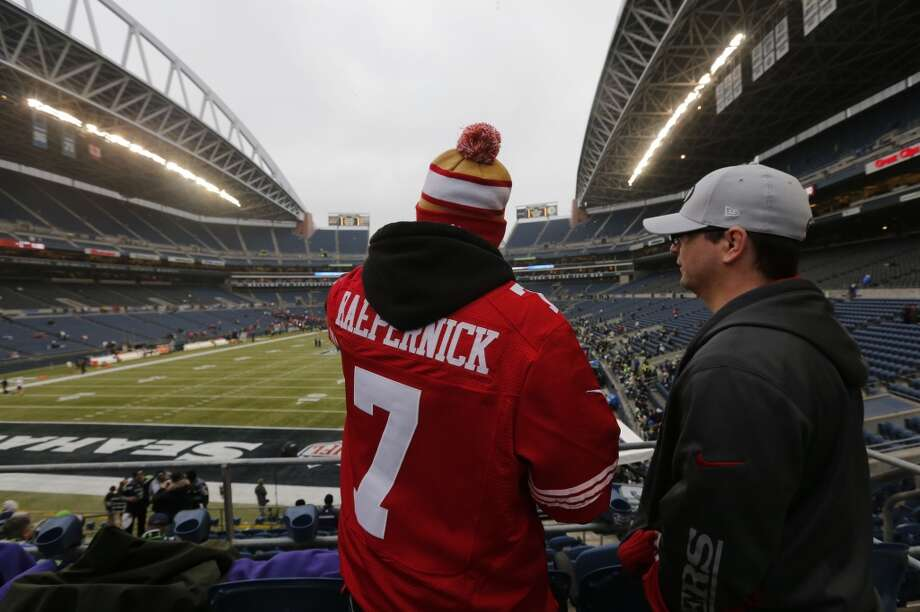 49er fans, Donny Duke, (left) and Justin Frisone traveled from North Pole, Alaska to attend the game as the San Francisco 49ers prepare to take on the Seattle Seahawks in the NFC Championship game at CenturyLink Field in Seattle, Washington on Sunday Jan. 19,  2014. Photo: The Chronicle
