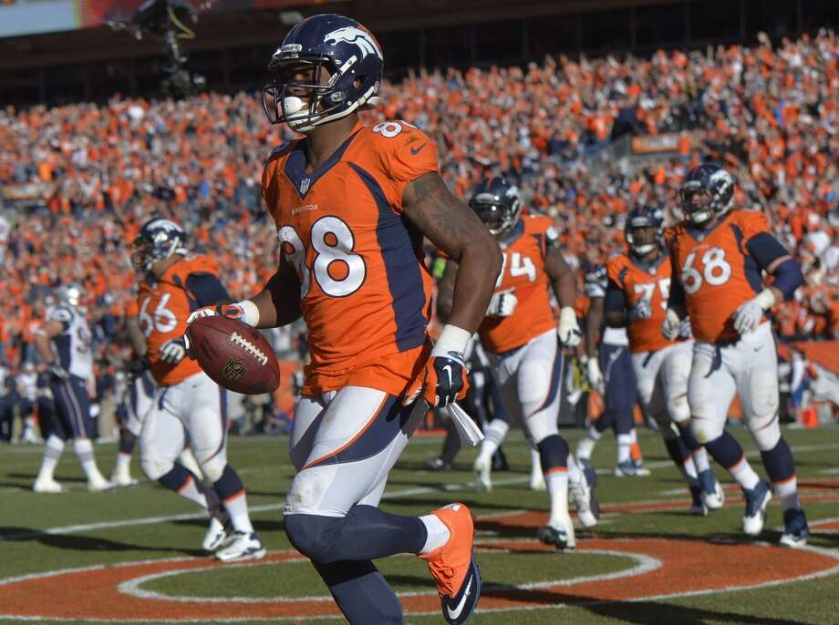 Broncos receiver Demaryius Thomas reacts after scoring a touchdown against the Patriots. Photo: Jack Dempsey, Associated Press