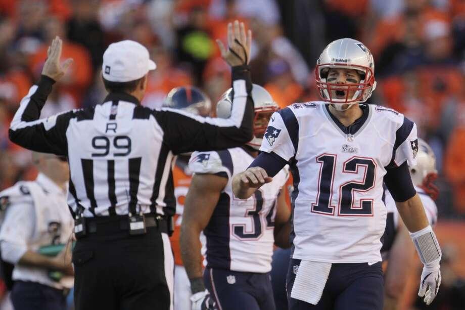 Patriots quarterback Tom Brady reacts to a call during the AFC Championship game against the Broncos. Photo: Joe Mahoney, Associated Press