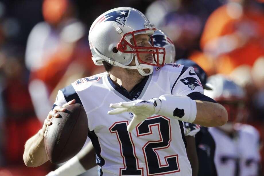 Patriots quarterback Tom Brady before the AFC Championship between the Broncos and New England. Photo: Joe Mahoney, Associated Press