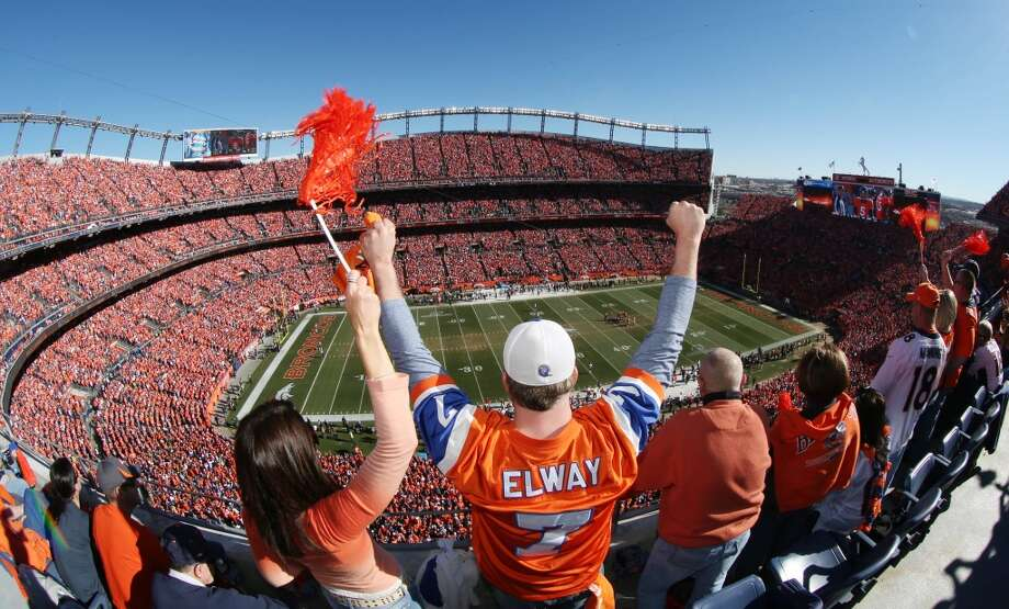 A Broncos fan shows his support before the AFC Championship game between Denver and the Patriots. Photo: David Zalubowski, Associated Press