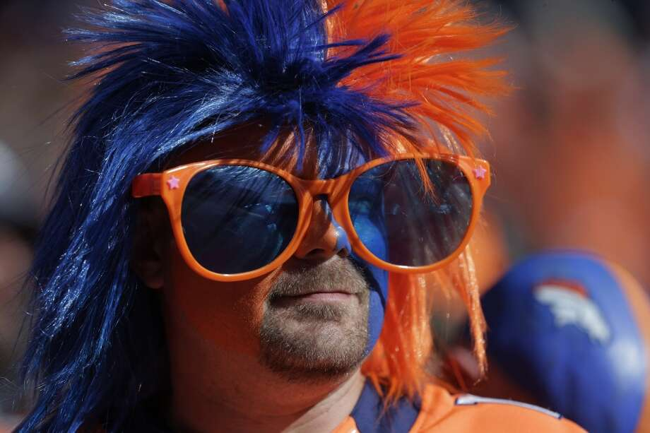 A Broncos fan shows his support at the AFC Championship game. Photo: Julie Jacobson, Associated Press