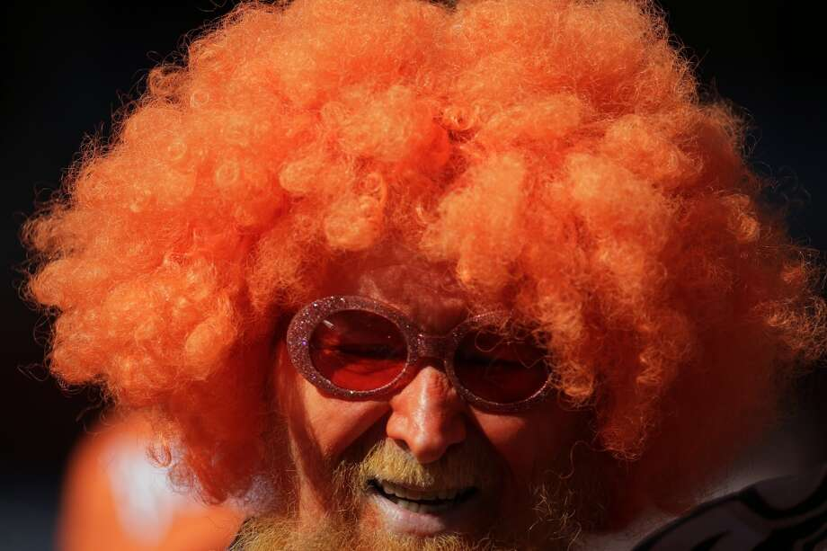 A Broncos fan shows his support at the AFC Championship game. Photo: Charlie Riedel, Associated Press