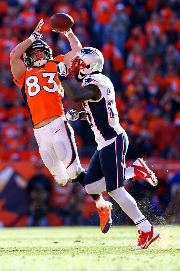 Broncos receiver Wes Welker makes a reception against the Patriots. Photo: Doug Pensinger, Getty Images