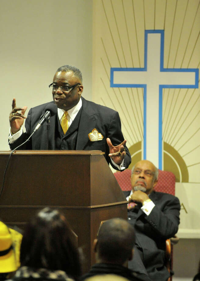 Rev. Dr. Tommie Jackson speaks to his congregation during the Dr. Martin Luther King Jr Birthday Commemoration at Faith Tabernacle Missionary Baptist Church in Stamford, Conn., on Sunday, Jan. 19, 2014. Photo: Jason Rearick / Stamford Advocate