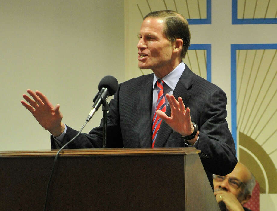 Sen. Richard Blumenthal speaks during the Dr. Martin Luther King Jr Birthday Commemoration at Faith Tabernacle Missionary Baptist Church in Stamford, Conn., on Sunday, Jan. 19, 2014. Photo: Jason Rearick / Stamford Advocate