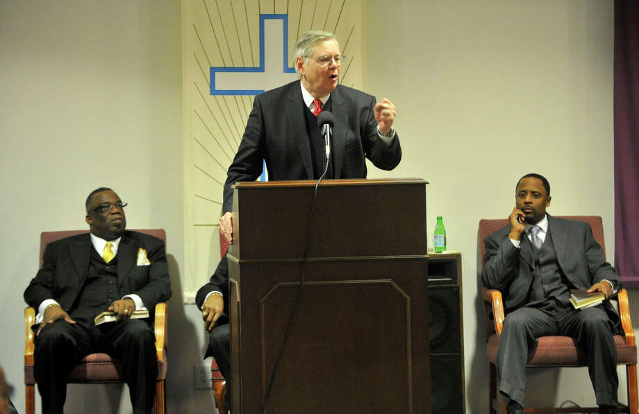 Mayor David Martin speaks during the Dr. Martin Luther King Jr Birthday Commemoration at Faith Tabernacle Missionary Baptist Church in Stamford, Conn., on Sunday, Jan. 19, 2014. Photo: Jason Rearick / Stamford Advocate