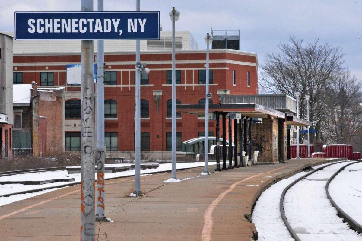 Train platform at the the Schenectady Amtrak Station on Erie Blvd. Thursday Jan. 17, 2013. (John Carl D'Annibale / Times Union)