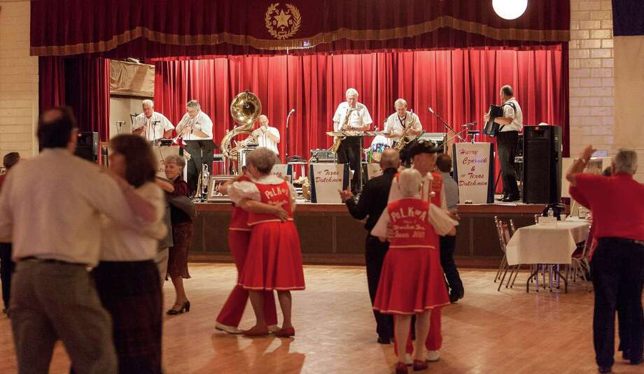 Dancers step out to the tunes of The Texas Dutchmen, led by second-generation polkaist David Czarnek, on a Saturday night at SPJST Lodge 88 in the Heights. SPJST are the Czech initials for Slavonic Benevolent Order of the State of Texas. Photo: Craig Hartley, Freelance / Copyright: Craig H. Hartley
