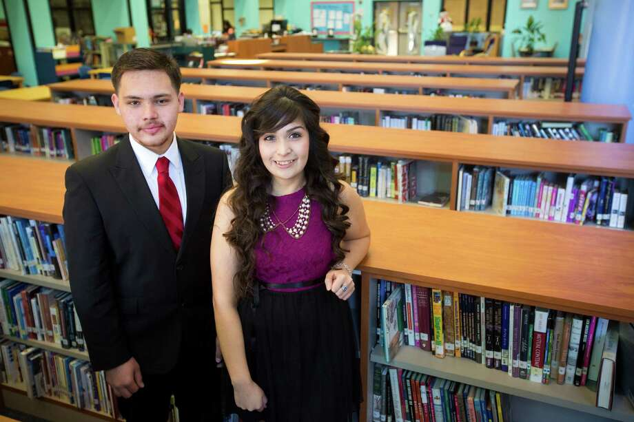 Carlos Perrett and Janet Nieto, 18 and seniors at Chavez High School, will attend top universities on full scholarships with help from the Emerge program. Photo: Marie D. De Jesus, Staff / Marie D. De Jesús