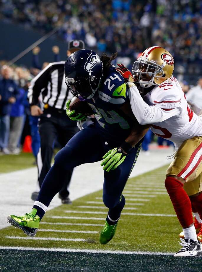 Seahawks running back Marshawn Lynch rushes for a 40-yard touchdown against the 49ers. Photo: Jonathan Ferrey, Getty Images