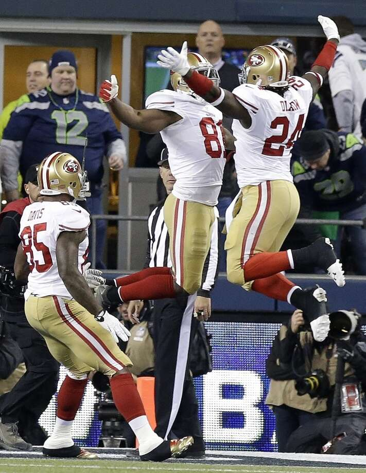 49ers receiver Anquan Boldin celebrates a touchdown in the second half against the Seahawks. Photo: Elaine Thompson, Associated Press