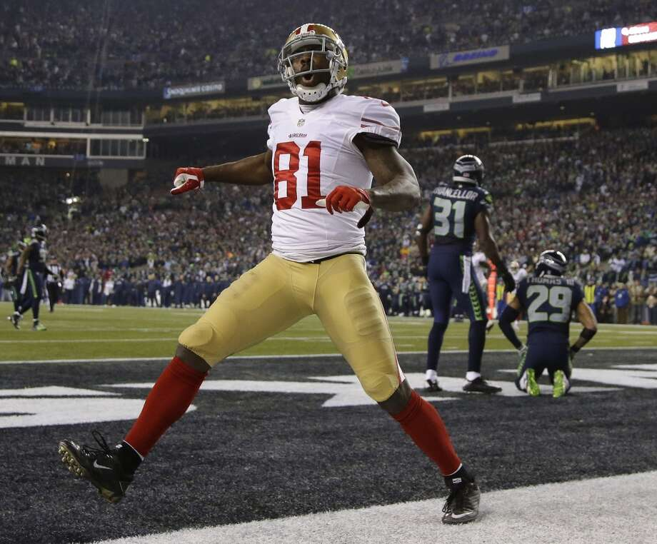 49ers receiver Anquan Boldin celebrates a touchdown in the second half against the Seahawks. Photo: Matt Slocum, Associated Press
