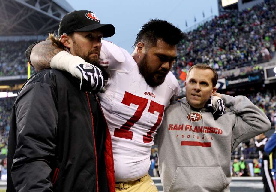 Mike Iupati of the 49ers leaves the game with an injury. Photo: Christian Petersen, Getty Images