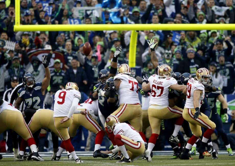 49ers kicker Phil Dawson kicks a 25-yard field goal against the Seahawks. Photo: Otto Greule Jr., Getty Images
