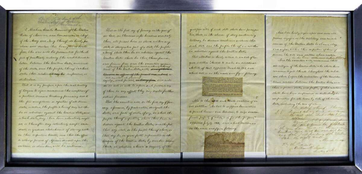 President Lincoln's draft of the Emancipation Proclamation at the NYS Museum Wednesday Jan. 15, 2014, in Albany, NY. (John Carl D'Annibale / Times Union)