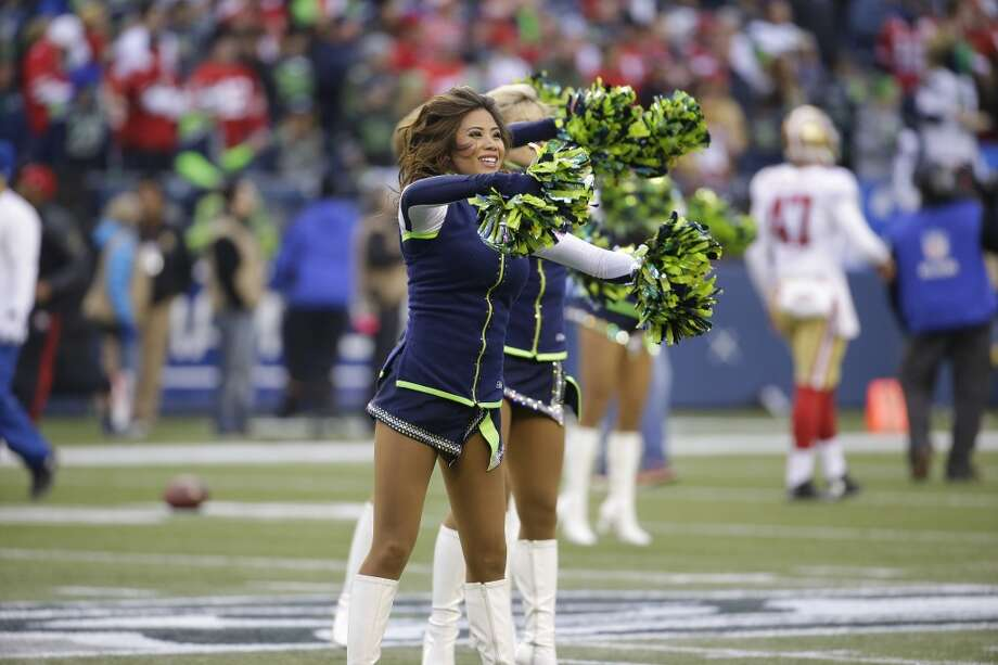 Seattle cheerleaders show their support for the Seahawks before the NFC Championship against the 49ers. Photo: Ted S. Warren, Associated Press