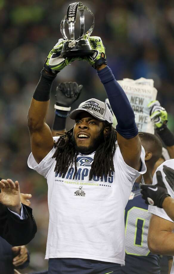 """Richard Sherman's mouthiness drew a mixed 49ers' reaction, from """"pure ignorance"""" to something akin to """"who cares?"""" Photo: Michael Macor, The Chronicle"""