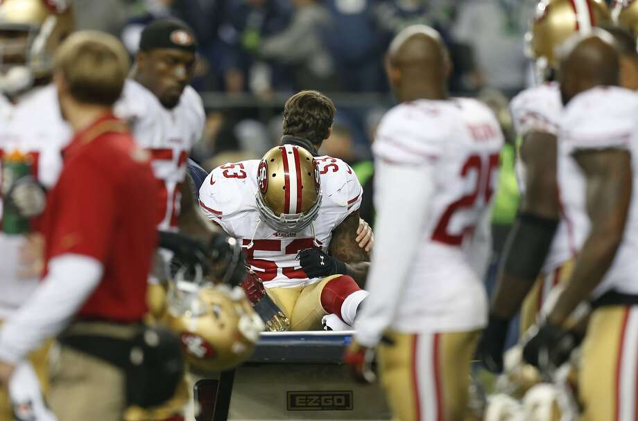 49ers NaVorro,Bowman, (53) is carted off the field after a leg injury in the fourth quarter, as the San Francisco 49ers went on to lose to the Seattle Seahawks 23-17, in the NFC Championship game at CenturyLink Field in Seattle, Washington on Sunday Jan. 19,  2014. Photo: Michael Macor, The Chronicle
