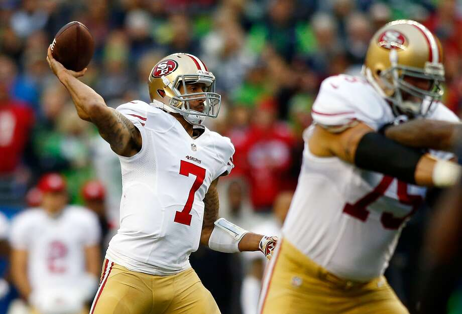SEATTLE, WA - JANUARY 19: Quarterback Colin Kaepernick #7 of the San Francisco 49ers throws against the Seattle Seahawks during the 2014 NFC Championship at CenturyLink Field on January 19, 2014 in Seattle, Washington.  (Photo by Jonathan Ferrey/Getty Images) Photo: Jonathan Ferrey, Getty Images