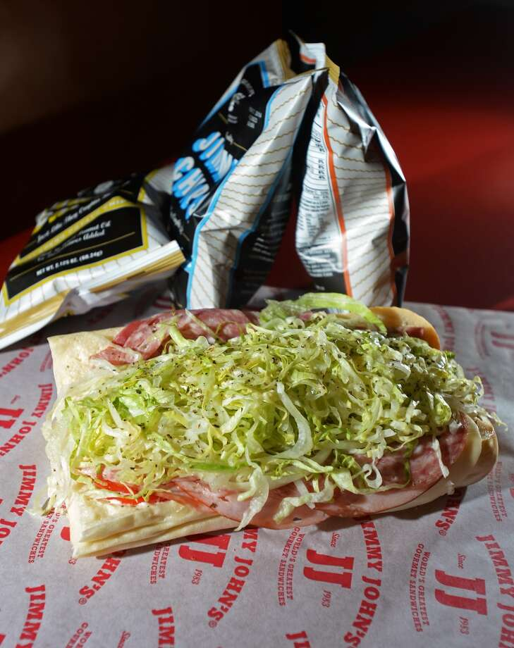 Pictured is a #9 Italian Night Club on French bread, as well as a few bags of Jimmy John's chips. Beaumont residents seem to be enjoying the speedy sandwiches available from the area's first Jimmy John's, located on Dowlen Road. Photo taken Wednesday, 1/8/14 Jake Daniels/@JakeD_in_SETX