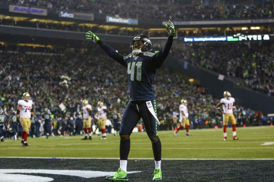 Seattle Seahawks player Byron Maxwell celebrates a game-sealing interception against the San Francisco 49ers in the final moments of the game as the Seahawks defeat the 49ers for the NFC Championship at CenturyLink Field on Sunday, January 19, 2014. Photo: JOSHUA TRUJILLO, SEATTLEPI.COM / SEATTLEPI.COM