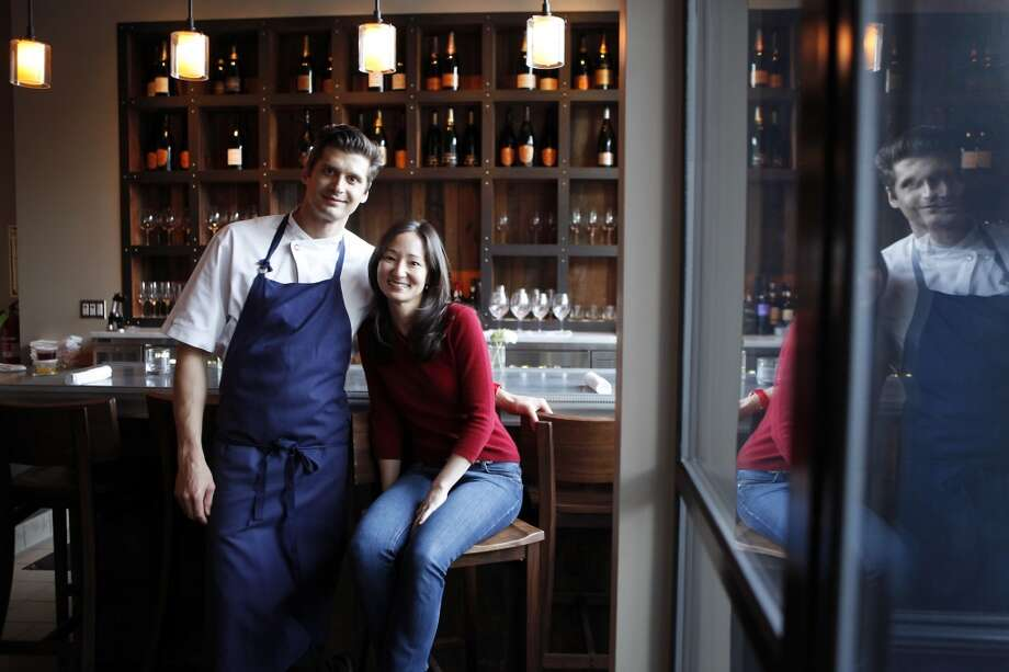 Head chef Nicolas Delaroque poses with his wife and business partner Andrea Delaroque at their newly opened restaurant Nico. Photo: Michael Short, The Chronicle