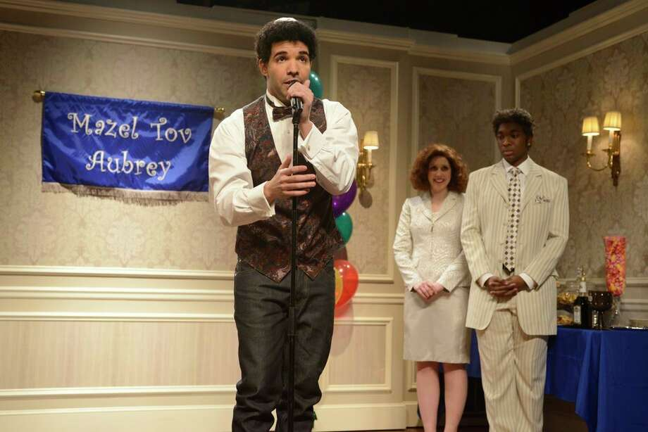 "Drake, Vanessa Bayer, Jay Pharoah on ""Saturday Night Live."" Photo: NBC, Dana Edelson/NBC / 2013 NBCUniversal Media, LLC."