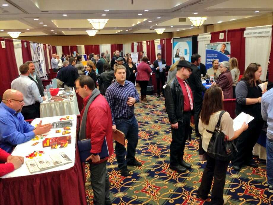 The Times Union Job Fair in full swing at the Marriott on Wolf Road until 4 p.m. Monday. (Skip Dickstein / Times Union)