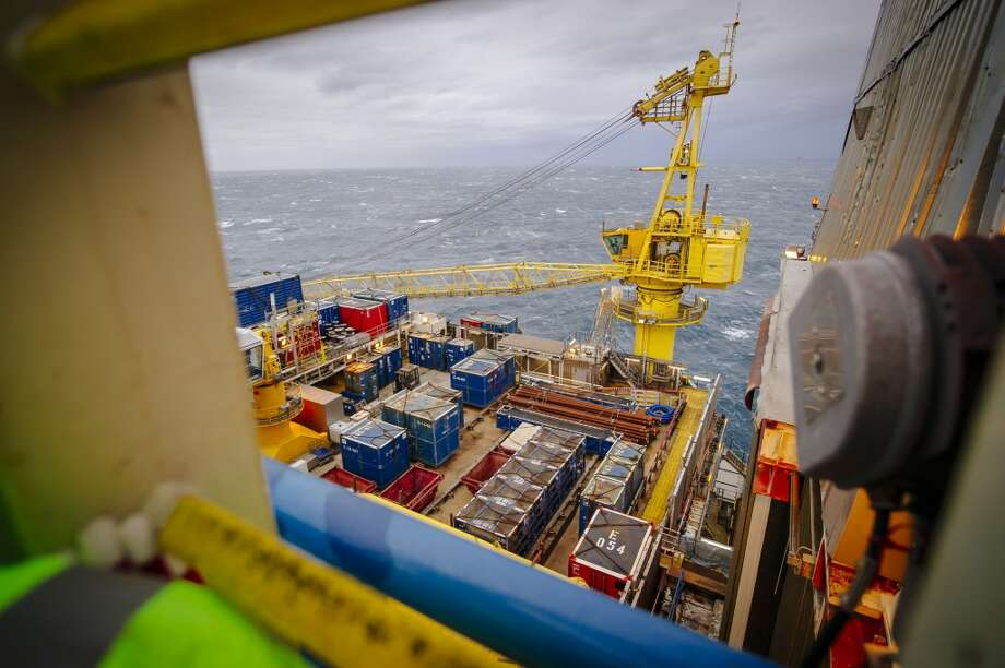 Structures stand on the Oseberg A offshore gas platform operated by Statoil ASA in the North Sea 140 kilometers  (87 miles) from Bergen, Norway, on Friday, Jan. 17, 2014. Photo: Kristian Helgesen, Bloomberg