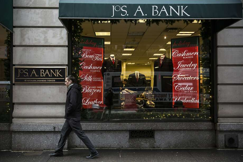 Jos. A. Bank is resisting a buyout bid from rival Men's Wearhouse and its stock is falling. Photo: Andrew Burton, Getty Images
