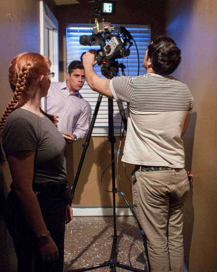 From left, San Jacinto College film students Tracy Gorman, Ramon Cordova and Shaaheen Karabi collaborate on a class video project at the college. Photo: Provided By San Jacinto College