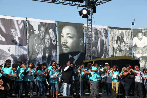 Thousands gathered Monday, Jan. 20, 2014, to remember the Rev. Dr. Martin Luther King Jr. in San Antonio's annual march — one of the state's largest — to honor the civil-rights leader's memory.