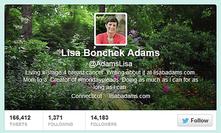 A screen grab of Lisa Bonchek Adam's twitter page. Photo: Contributed Photo / Connecticut Post Contributed