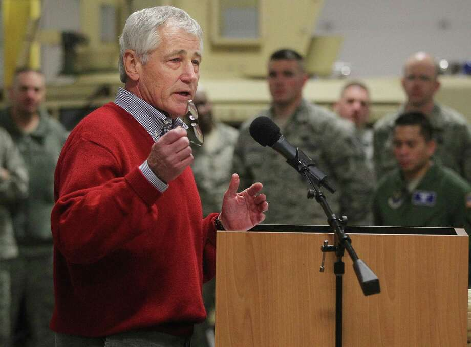 Defense Secretary Chuck Hagel speaks at  F.E. Warren AFB  Jan. 9 in Cheyenne, Wyo. It was the first time since 1982 that a defense secretary has visited the nuclear missile base. Photo: Michael Smith / Associated Press / Wyoming Tribune Eagle
