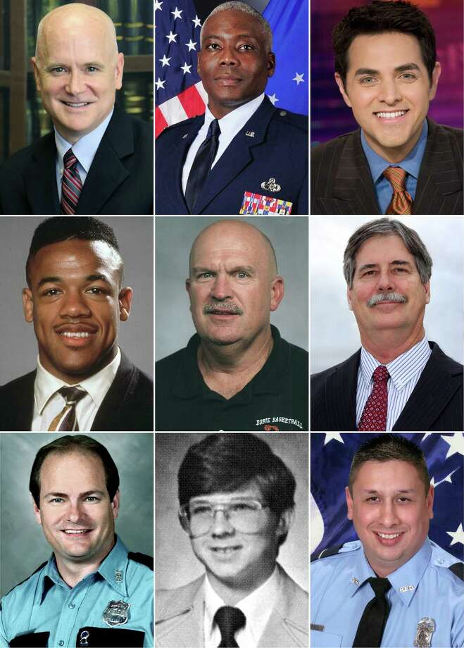Dobie High School's Hall of Honor inductees are, top row, from left, Malcolm Jacobson, Col. Reginald Godbolt and Robert Flores; middle row, Trevor Cobb, Scott Talton and Ron Williams and, bottom row, Fallen Heroes Jerry Stowe, Danny Frye and Robert Beebe. Photo: Provided By Dobie High School