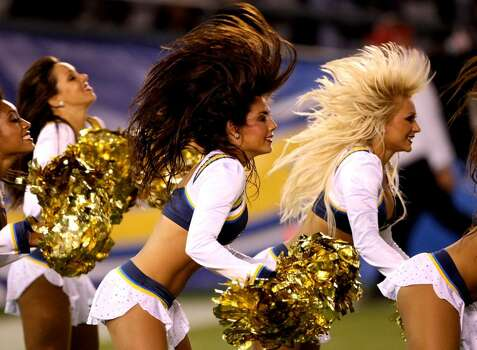 SAN DIEGO - SEPTEMBER 04:  The Chargers Girls cheerleaders perform duing the game between the San Diego Chargers and the San Francisco 49ers on September 4, 2009 at Qualcomm Stadium in San Diego, California.   The Chrgers won 26-7.  (Photo by Stephen Dunn/Getty Images) Photo: Stephen Dunn, Getty Images / 2009 Getty Images