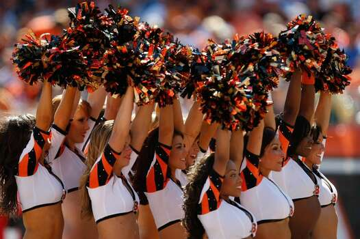 CINCINNATI, OH - SEPTEMBER 13:  Bengals cheerleaders entertain fans during the game between the Cincinnati Bengals  against the Denver Broncos at Paul Brown Stadium on September 13, 2009 in Cincinnati, Ohio. The Broncos defeated the Bengals 12-7. (Photo by Scott Boehm/Getty Images) Photo: Scott Boehm, Getty Images / 2009 Getty Images