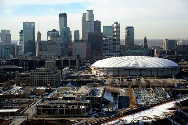 FILE - In this Jan. 30, 2012, file photo, Mall of America Field at the Hubert H. Humphrey Metrodome is seen in downtown Minneapolis. The Minneapolis skyline could begin to change this weekend. Power inside the Minnesota Vikings' Metrodome is scheduled to be cut Saturday and the giant white top that's been part of the skyline for more than 32 years will begin deflating. MAGS OUT; LOCAL TV OUT; ST. PAUL PIONEER PRESS OUT