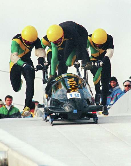 The Jamaican four-man bobsled team, piloted by Dudley Stokes, first competed in the Olympics in 1988 at Calgary. Photo: George Gobet / Getty Images / AFP