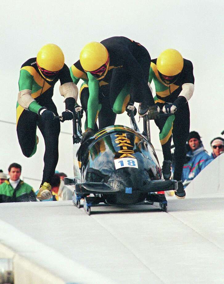 The Jamaican four-man bobsled team that inspired the movie Cool Runnings first competed in the Olympics in 1988 at Calgary. Photo: George Gobet / Getty Images / AFP