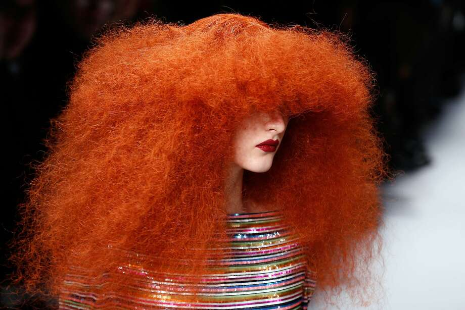 Forget the conditioner this morning? A model presents a creation for Schiaparelli during the Haute Couture Spring-Summer 2014 show in Paris. Photo: Francois Guillot, AFP/Getty Images