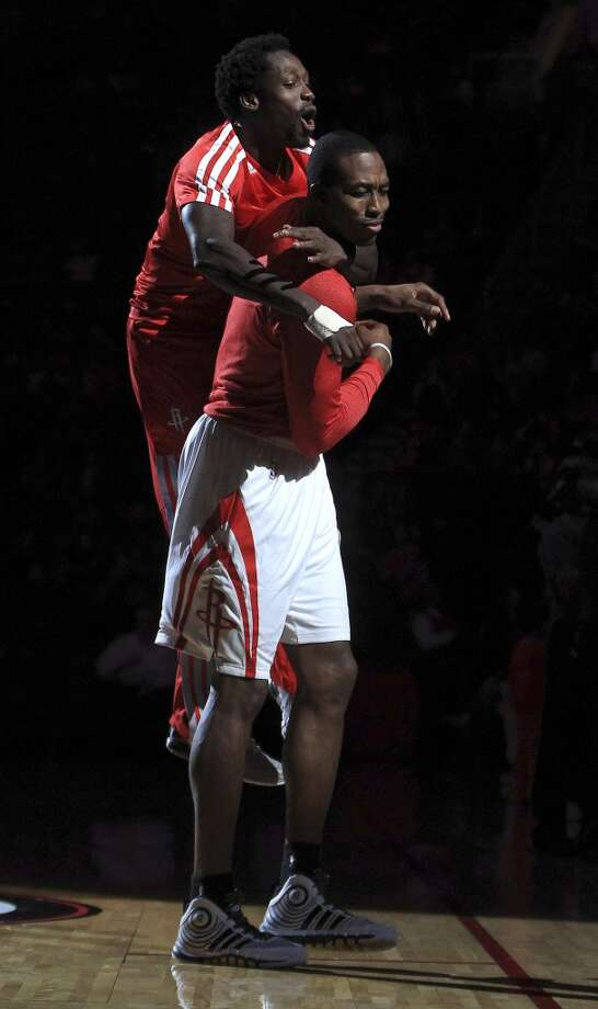 Rockets center Dwight Howard and guard Pat Beverley during pregame introductions. Photo: Karen Warren, Houston Chronicle