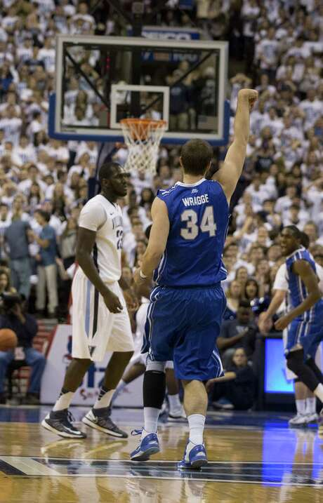 Creighton forward Ethan Wragge follows through on one of his school record-tying nine 3-pointers in a 96-68 victory at No. 4 Villanova. Wragge finished with 27 points, and the Bluejays set a team record with 21 3-pointers. Photo: Mitchell Leff / Getty Images / 2014 Getty Images