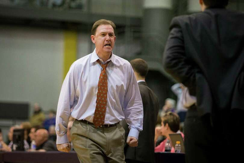 UAlbany head coach Will Brown reacts as Binghampton pressures the lead during the mens' basketball g