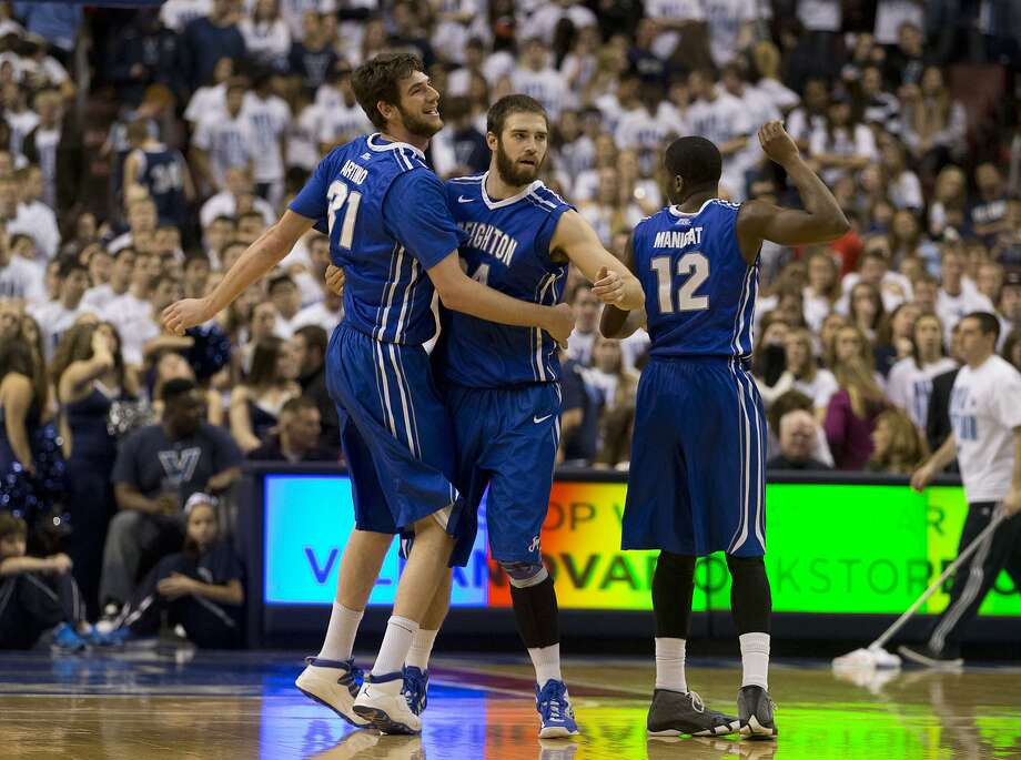 Ethan Wragge (right) hit nine three-pointers in Creighton's rout at Villanova. Photo: Mitchell Leff, Getty Images