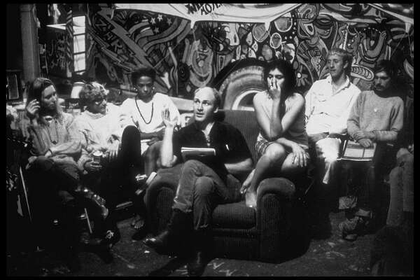Author & '60's guru Ken Kesey (C) holding court with students drinking in his every word with future entrepreneur/innovator Stewart Brand (2R) amoung following.  (Photo by Ted Streshinsky//Time Life Pictures/Getty Images)
