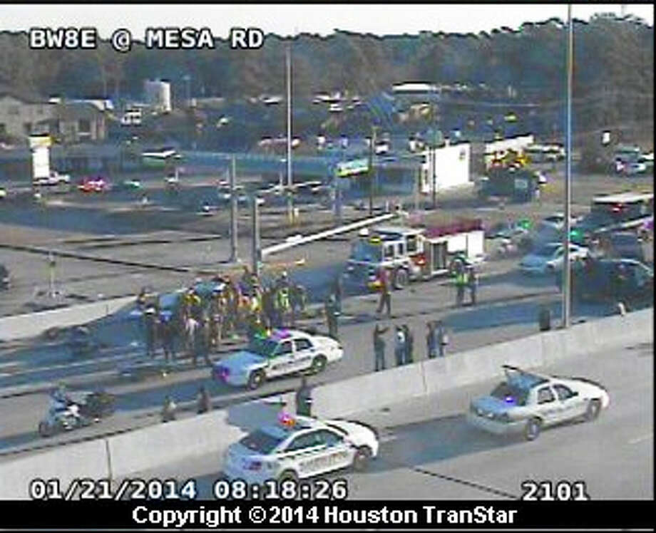 A Harris County sheriff's deputy and his K-9 were involved in a traffic crash about 7:50 a.m. Tuesday on westbound North  Sam Houston Parkway. Photo: Houston TranStar