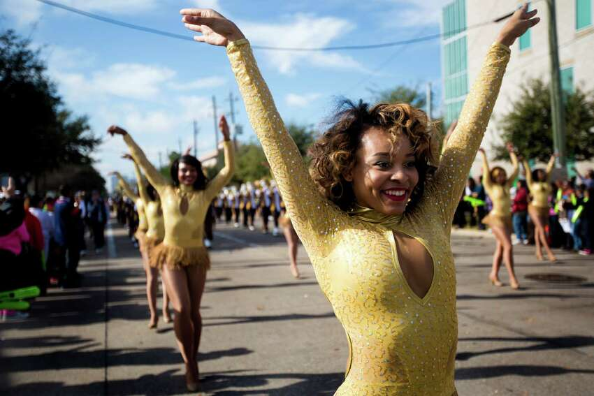 A Prairie View A&M University dancer performs to the rhythm of their marching band
