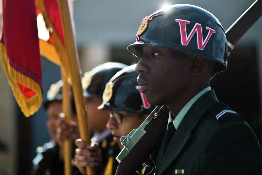 The Westfield High School Army JROTC march on San Jacinto Street during the 20th Annual MLK Grande Parade, Monday, Jan. 20, 2014, in Houston. Photo: Marie D. De Jesus, Houston Chronicle / © 2014 Houston Chronicle